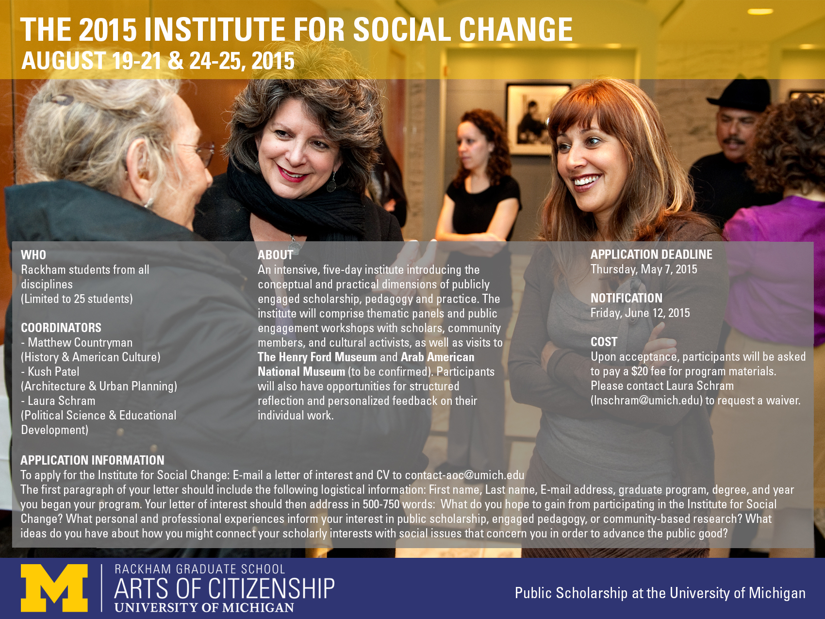 The Institute for Social Change Poster, Spring-Summer 2015.